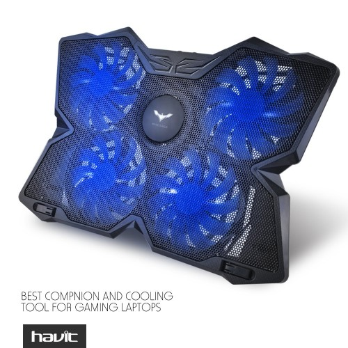 "HAVIT® HV-F2063 15.6""-17"" Laptop Cooler Cooling Pad - Four Quiet 110mm Fans at 1,200RPM, Ultra-portable and Light Weight (4 Fans)"