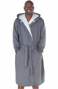 Del Rossa Men's Cotton Sweatshirt Style Hooded Bathrobe Robe