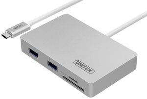 UNITEK Charge & Data USB 3.0 Aluminum Hub+SD / microSD Card Reader + Recharging Port, Type-C(USB 3.1 Gen1& Thunderbolt 3) Hub with Power Delivery for New MacBook 12""
