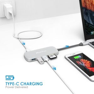 USB C Hub, HooToo Shuttle 3.1 Type C Hub with Power Delivery for Charging, Card Reader, 3 USB 3.0 Ports